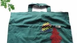 Зелёная сумка  с 2-мя листьями