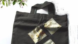 Тёмно-коричневая сумка  с 3-мя ромбами
