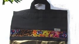 Чёрная сумка с цветной полосой и золотая ткань диско