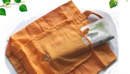Оранжевая сумка с карманом
