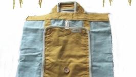 Голубая сумка с карманом с бежевой петлей