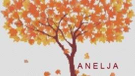 Схема для вышивки картины крестом - Дерево осень