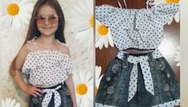 Комплект: джинсовая юбка и блуза-топ