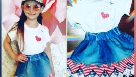 комплект: джинсовая юбка и футболка