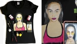Портрет на футболке по Вашему фото Ручная роспись одежды на заказ