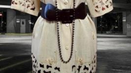 Бежевая блуза Bing с вышивкой и ажурными деталями, большой размер Пог-66