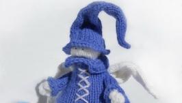 Ангел в синем, игрушка вязаная интерьерная