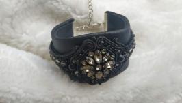 Авторский черный кожаный браслет с кристаллами