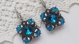 Серьги, серёжки, сережки, кульчики голубые из бисера ручной работы, бижутер