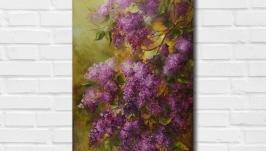 Картина маслом ′Аромат сирени′ 70х40 см, холст на подрамнике, масло