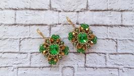 Серьги, серёжки, сережки, кульчики зелёные из бисера ручной работы, бижутер