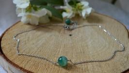 Чокер - цепочка с зеленым агатом ′Флора′