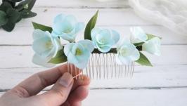 Гребень с цветами голубой фрезии  Голубой гребень для волос невесте