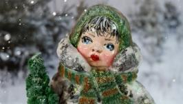 Іграшка новорічна ′Дівчинка з ялинкою′