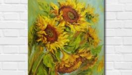 Картина маслом ′Солнечные цветы′ 45х35 см, холст на подрамнике, масло