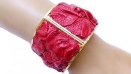 Оригинальный красный разъемный женский браслет, металл и натуральная кожа