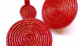 Комплект из натуральной кожи, красное кольцо и подвеска