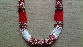 Beaded Ethno necklace gerdan red-black-white
