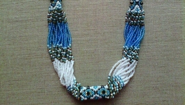 Beaded Ethno necklace gerdan blue-black-white