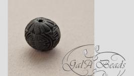 099 Бусины Киноварь имитация резные черные ШАР