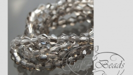 Хрусталь гранёные биконус  СВЕТЛО-СЕРЫЙ 3 х 3 мм НИТЬ