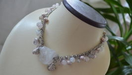 Ожерелье из агата, розового кварца  и жемчуга «Мечты»