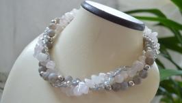 Ожерелье из агата и розового кварца «Предчувствие любви»
