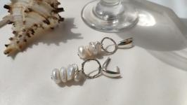Срібні сережки з перлинами Кеші