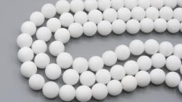 Бусина нефрит нить 8 мм матовый белый натуральный камень круглый