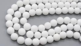 Бусина нефрит 8 мм матовый белый натуральный камень круглый