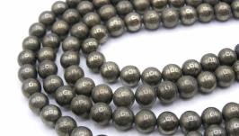Бусина пирит круглый гладкий 6 мм натуральный камень металлик