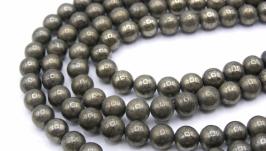 Бусина пирит нить круглый гладкий 6 мм натуральный камень металлик