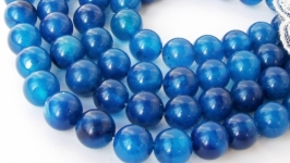 Агат бусины 10 мм круглый гладкий синий