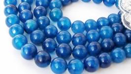 Агат бусины нить 10 мм круглый гладкий синий