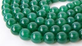 Агат бусины нить 10 мм круглый гладкий зеленый