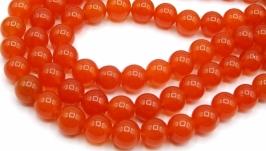 Агат бусины нить 10 мм круглый гладкий красный