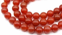 Сердолик бусины 10 мм круглый гладкий красный