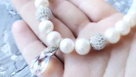 Кольє з великих натуральних перлів з кристалом Swarovski
