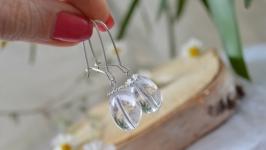 Серебряные серьги с горным хрусталем ′Роса′