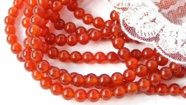 Агат бусины 6 мм круглый гладкий красный