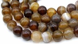 Агат бусины нить 10 мм круглый гладкий коричневый