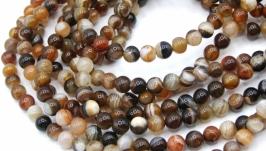 Агат бусины нить 6 мм круглый гладкий коричневый