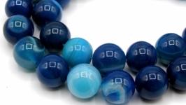 Агат бусины нить 12 мм круглый гладкий синий