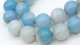 Агат бусины нить 12 мм круглый гладкий голубой