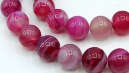 Агат бусины нить 12 мм круглый гладкий фуксия розовый