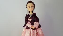 Кореянка в розовом ханбоке, этно стиль