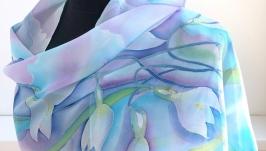 Шелковый шарф ′Подснежники′, натуральный шифон.