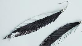 Кожаные серьги-перья ′Mona′