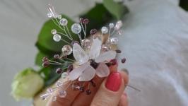 Шпилька в прическу с розовым кварцем и гранатом ′Ветка персика′