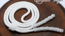 Лариат ′Белоснежный′ галстук жгут хрусталь белый